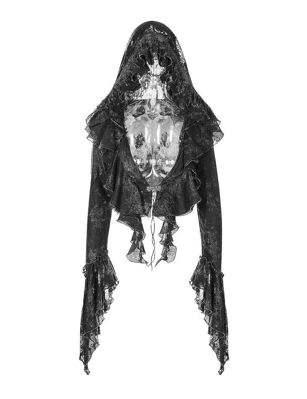 Punk Rave Manteau Femme Noir Noir