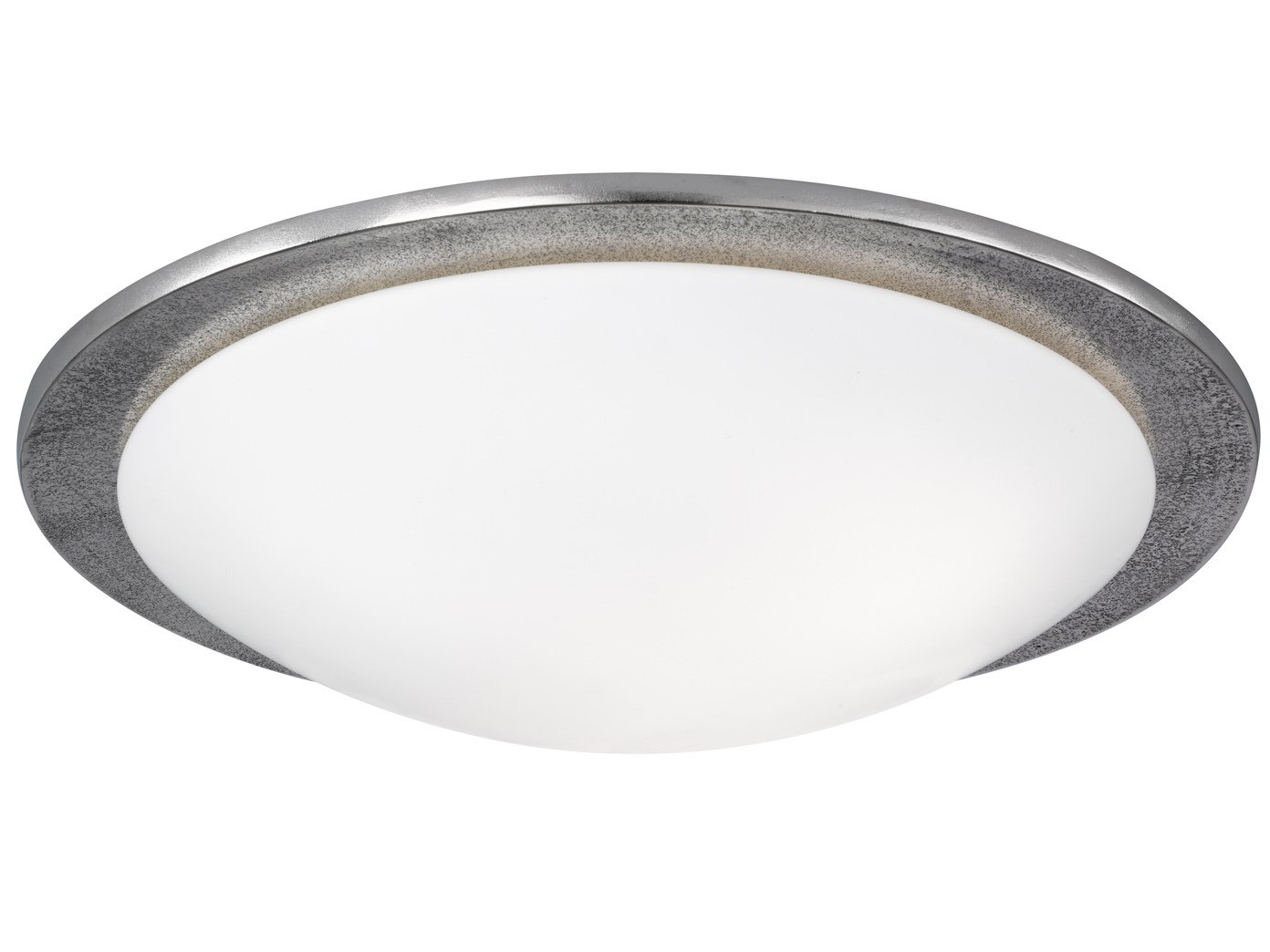 Deckenleuchte SHINE-ALU im Antik Stil, Nickel antik, Glas opalweiß, Ø 50 cm, 3x E27 Fassung