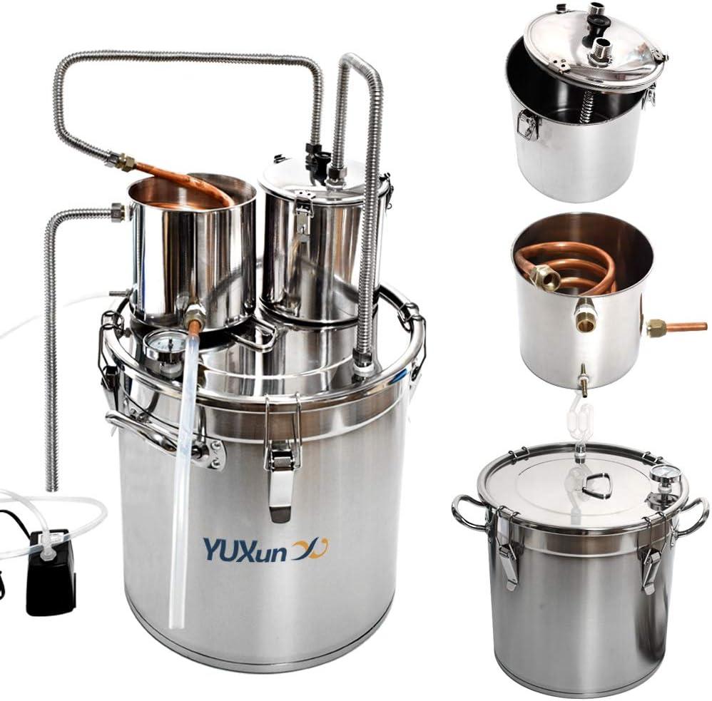 13 Gal 50L Alcohol Distiller Moonshine Still Copper Tube Still Kits Water Distiller Wine Boiler Home Brewing Kit with Thumper Keg Stainless Steel (13 Gal / 50L)
