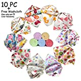 10-pack Baby Girls Bandana Drool Bibs&FREE Baby Washcloth GIFT, Absorbent Cotton Bibs Super-Stylish Anti-Smell Anti-Bacterial Apron Bibs Quick Dry Avoids Drool Rash with Nickel-Free Snaps