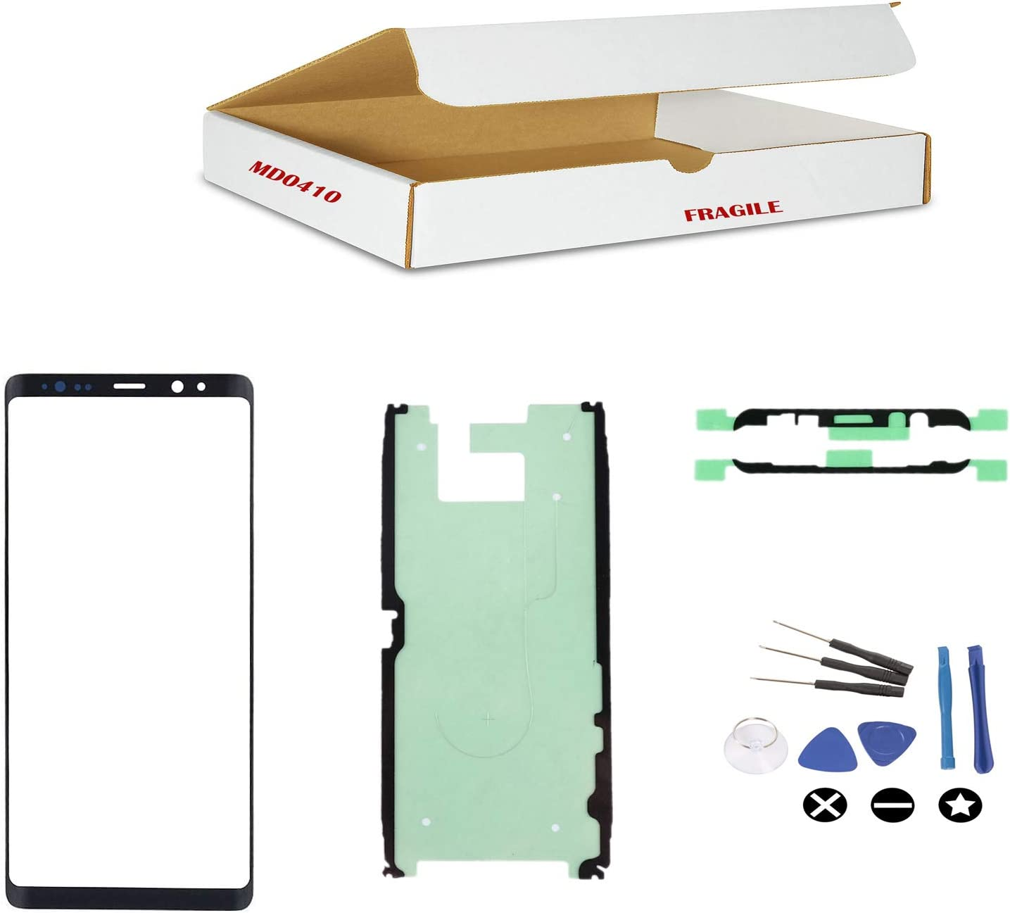 md0410 Black Front Outer Glass Lens Rear Camera Lens Frame Replacement Part Compatible for Galaxy Note 8 Phone Model N950 Repair Tools Kit LCD Screen /& Touch Digitizer Not Included Back Cover