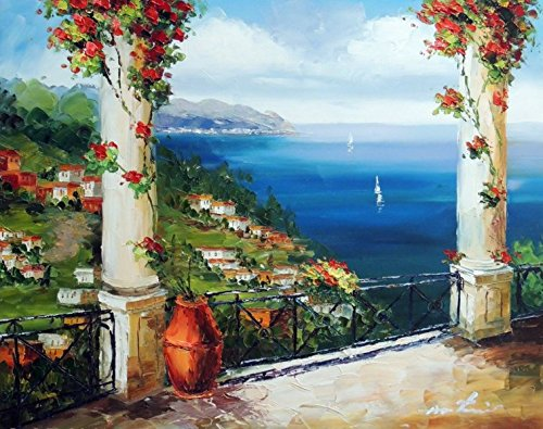 100% Hand Painted Mediterranean Sea Italian Beach Town Coast Homes Canvas Home Wall Art Oil Painting by Well Known Artist, Framed, Ready to Hang