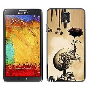 GOODTHINGS Funda Imagen Diseño Carcasa Tapa Trasera Negro Cover Skin Case para Samsung Note 3 N9000 N9002 N9005 - rosa cráneo amarillento rollo de la muerte metal rock