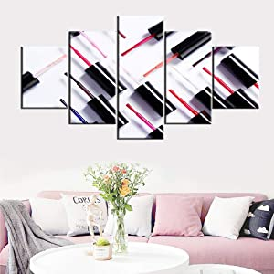 Pictures for Living Room Colorful Nail Polish Brush Paintings Multi Panel Prints Wall Art on Canvas Giclee Cosmetic Artwork Modern Home Decor Wooden Framed Gallery-Wrapped Ready to Hang(60''Wx32''H)