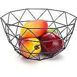 kati-way Corbeille à Fruits Design, Panier de Fuit Métal Elégante Solide Noir pour Ranger les Fruits ou l'autres Collations (14,5 x 27 x 13,5 cm)