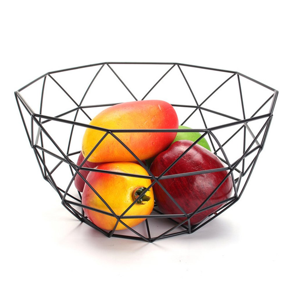 Fruit Basket Geometric Iron Bowl Mixed Fruits Wine Organizer for Men and Women Aneil