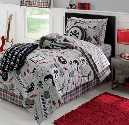 Lovely Rock Star, Guitar, Keyboard, Skull, Full Comforter Set (8 Piece Bed In A  Bag): Amazon.ca: Home U0026 Kitchen