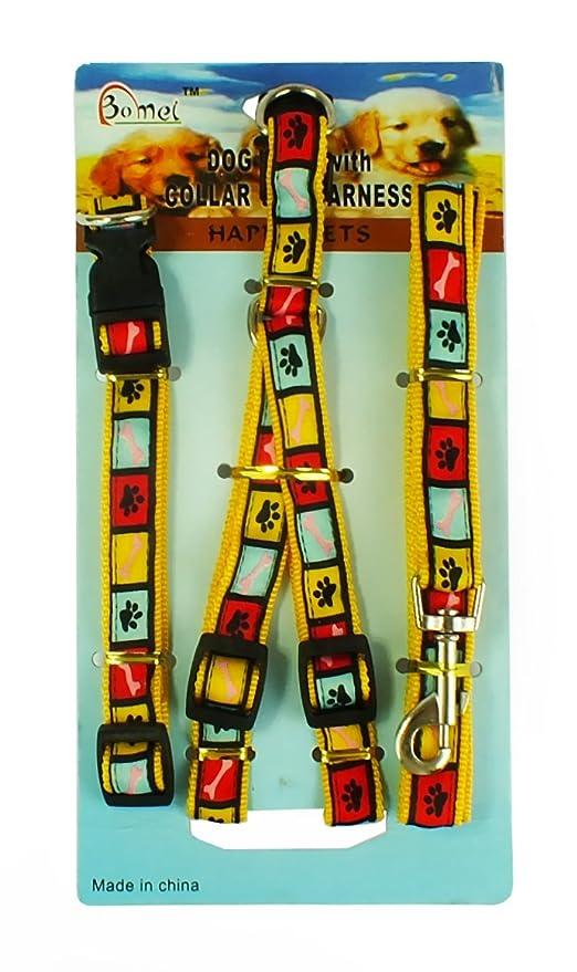 Tirador, collar y arnés para perro (Amarillo estampado): Amazon.es ...
