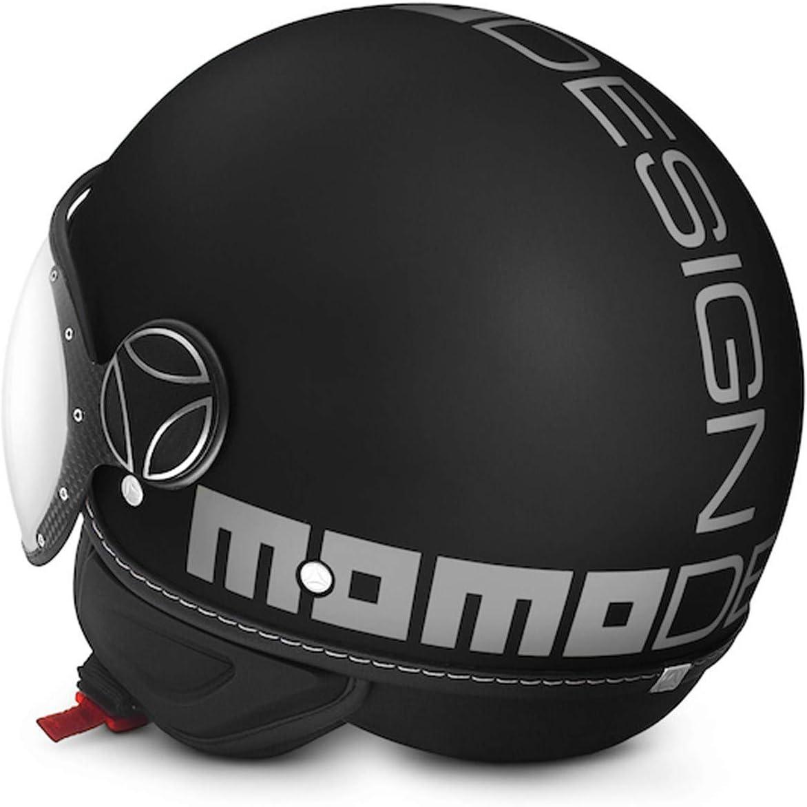 noir mat MOMO fgtr classique casque moto jet ouvert noir mat avec logo argent X-Large