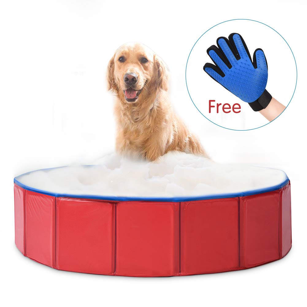 fastUU Foldable Dog Pet Bath Pool Pet Swimming Tub Collapsible Dog Pet Tub for Dogs, Cats or Kids blue-red)