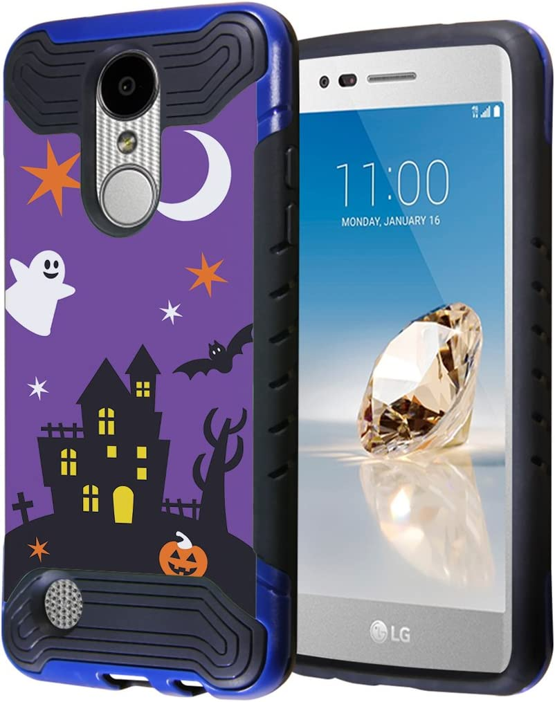 LG Aristo Case, LG Fortune Case, LG Phoenix 3 Case, Capsule-Case Hybrid Dual Layer Slim Armor Case (Blue Black) for LG Aristo/Fortune / Phoenix3 / K4 2017 / K8 2017 - (Halloween)