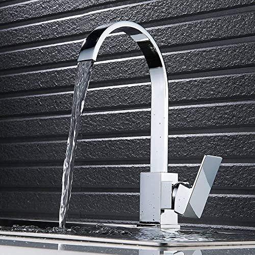 Dmqpp Wasserfall Chrome Kitchen Sink Mischbatterien Einhebelmischer Schwenkauslauf Quadrat-Hahn wasserhhne küche