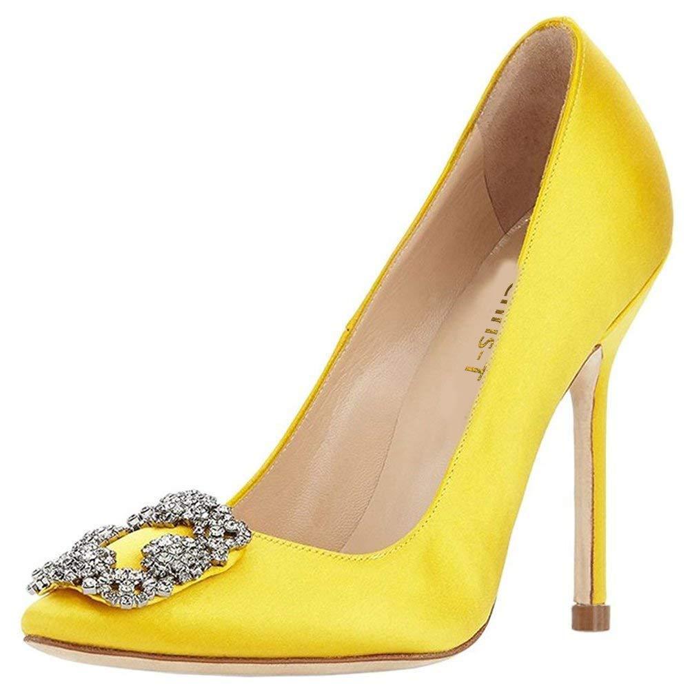c2a506cc53b093 Chris-T Women s Jeweled Satin Pumps Full Sole Diamonds Pointed Toe Stiletto High  Heel Slip On Evening Pumps