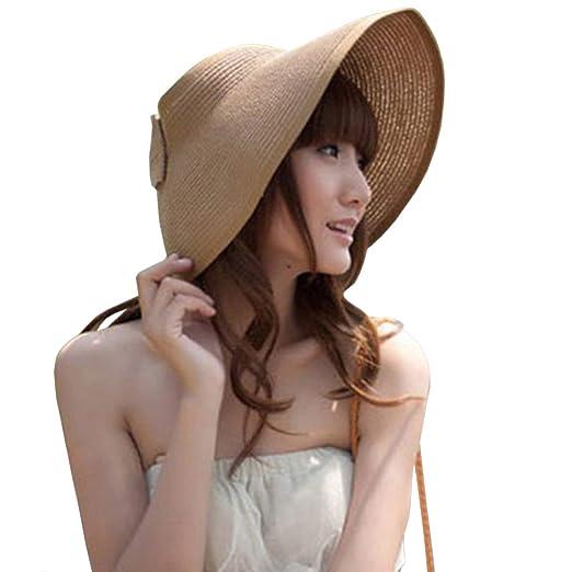 DRESHOW Sun Visor Hat Cap Adjustable Large Brim Straw Beach Hat UV ... a51f9d43f0b