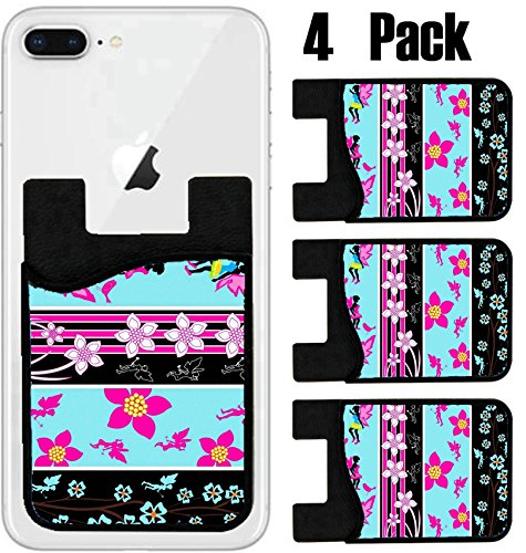 MSD Phone Card holder, sleeve/wallet for iPhone Samsung Android and all smartphones with removable microfiber screen cleaner Silicone card Caddy(4 Pack) IMAGE ID: 4671246 Fairy Floral Web Banner - Ban Web