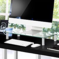 Artiss Monitor Stand Riser Computer TV Laptop Screen Desktop Tempered Glass Display Shelf Clear w/Aluminium Adjustable…