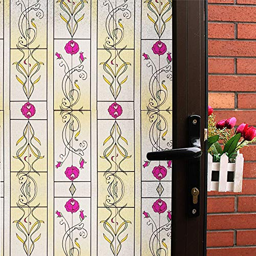 Mikomer Privacy Window Film,Flower Door Film,Static Cling Glass Film,Colorful Stained Glass Anti UV Window Tint for Bathroom,Office,Meeting Room,Bedroom Decoration,35 inches by 78.7 inches