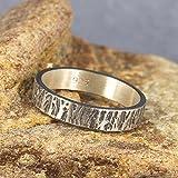 4mm Wood Bark Tree Bark Textured Rustic Oxidized Blackened Wedding Band 925 Sterling Silver Mens Women Unisex Thick Handmade Black Wedding Ring - FREE Custom Engraving