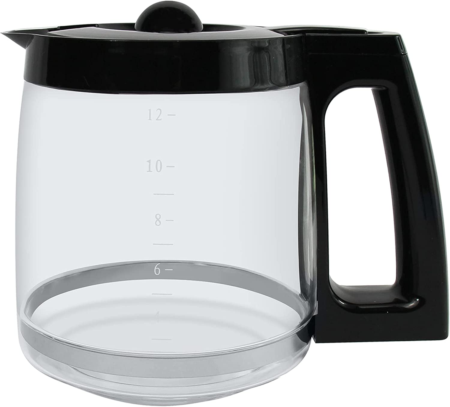 Ulrempart 12-Cup Replacement Glass Carafe | Compatible with Hamilton Beach Coffee Maker Pot | Fit for Models 49980A, 49980Z, 49983, 49618, 46300, 46310, 49976, 49966, 49350 | Black