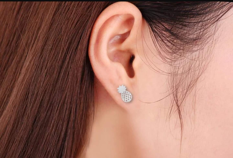 Girls small stud earrings Silver Women Stand Tall Silver Pineapple Pineapple stud earrings Fruit Jewelry Be Sweet on the Inside Wear a Crown