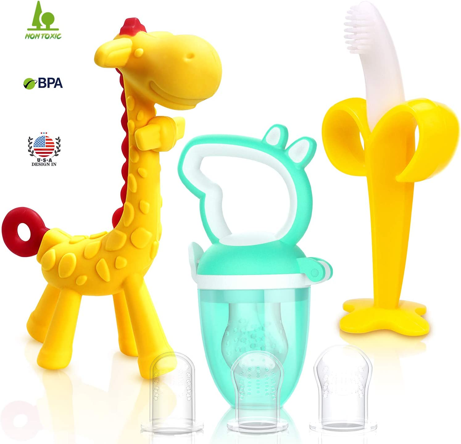 SHARE&CARE Baby Teething Toys and Natural Organic Food Feeder Pacifier/Baby Teether Chew Toys Fresh Fruit Feeding/ 2 Teethers and 1 Feeder with 3 Silicone Sacs (Yellow)