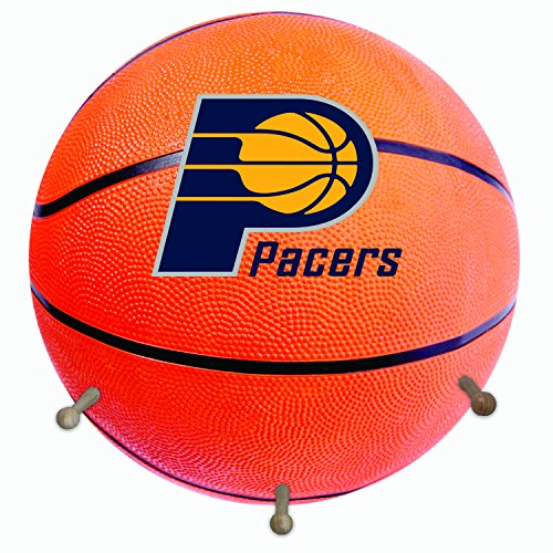fan products of NBA Indiana Pacers Basketball Shaped Team Coat Rack with Three Pegs, 15