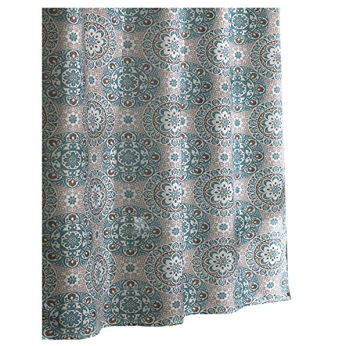 Ex-Cell Carthe Fabric Shower Curtain, 70 by 72-Inch, Turquoise (Cell Shower Curtain)