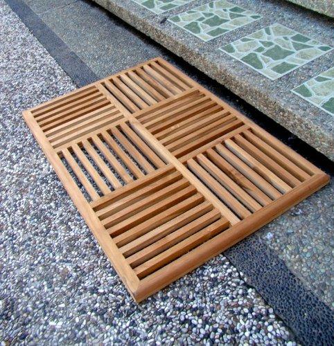 TeakStation Grade A Teak Wood 36''x24.5'' Basket Weave Door / Shower/ Spa / Bath Floor Mat