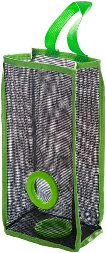 Hemoton Organizador de bolsas de plástico Dispensador Bolsas De Basura en Malla Dispensador de bolsas de plástico para la cocina (Verde)