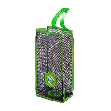 BESTOMZ Organizador de bolsas de plástico Dispensador Bolsas De Basura en Malla Dispensador de bolsas de plástico para la cocina (Verde)