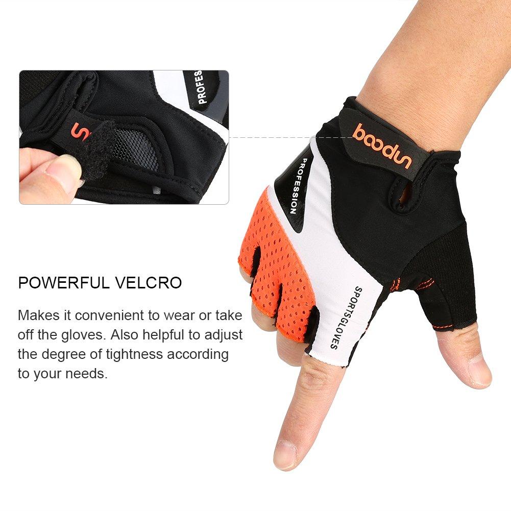 Vbiger Cycling Gloves, Men\'s Half Finger Biking Gloves MTB Gloves with Anti-Shock Gel Pad (B-Orange, M)