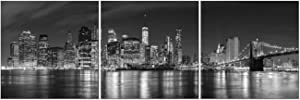 Pyradecor New York City Skyline Night Modern 3 Panel Stretched and Framed Black and White Cityscape Giclee Canvas Prints Pictures Paintings on Wall Art for Living Room Bedroom Home Decorations