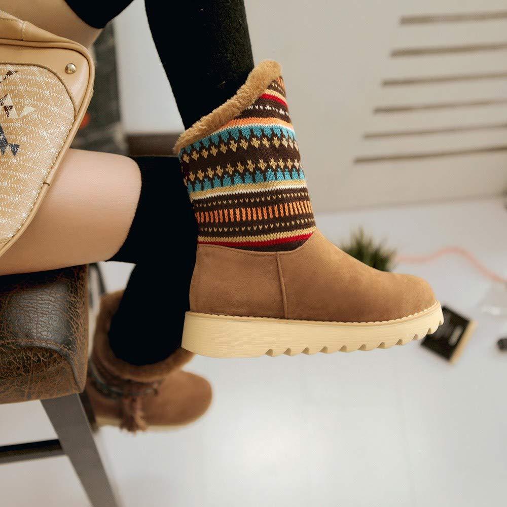 GoodLock Women Fashion Ankle Snow Boots Winter Warm Retro Tassel Folk-Custom Booties Round Toe Shoes