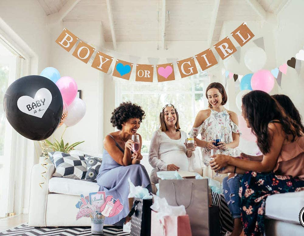 Girl or Boy Gender Reveal Balloon with Confetti Decoration for Baby Shower Baby Foil Balloon KKSJK Baby Gender Reveal Party Decoration Set Boy or Girl Banner