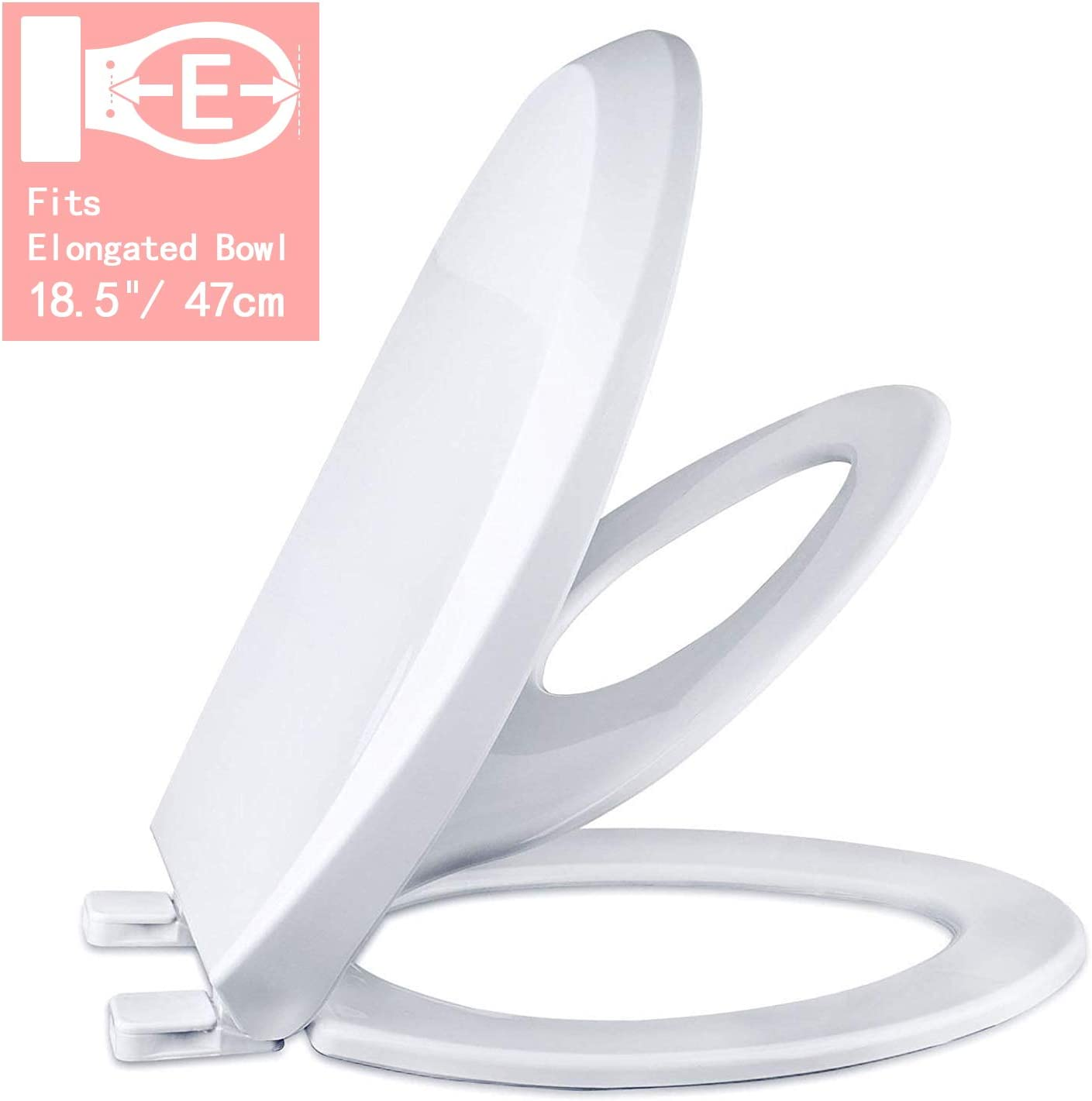 No Slam/… White Elongated Slow Close Toilet Seat for Adult//Toddler with Magnetic Stay Tight