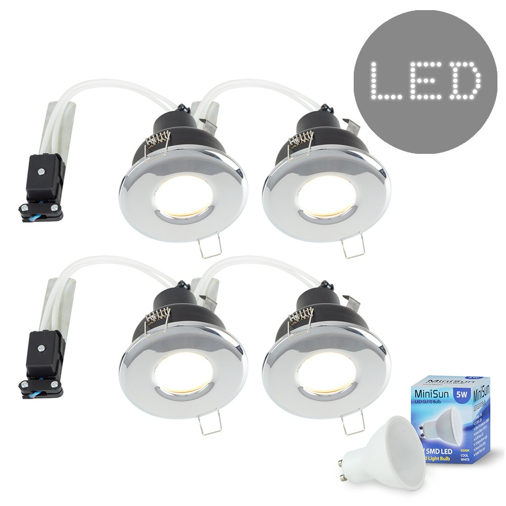 4 x MiniSun Bathroom/Shower / Soffit IP65 Polished Chrome GU10 Recessed Ceiling Spotlight Downlights - Complete With 4 x 5W Cool White GU10 LED Bulbs