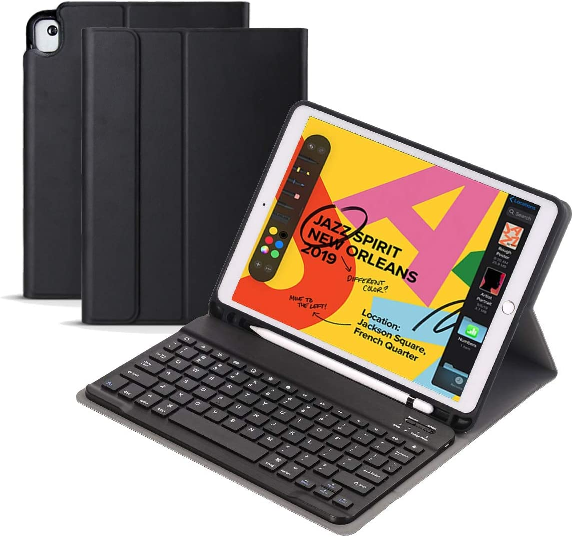 """iPad 10.2 Keyboard Case for iPad 7 2019 7th Gen, Smart Keyboard for iPad Air 3 10.5 inch/iPad Pro 10.5"""",Detachable Wireless Keyboard with Pencil Holder, Protective Case Adjustable Stand (Black)"""