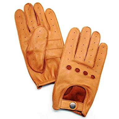 91d2d88addec2 YISEVEN Men s Deerskin Leather Driving Gloves Unlined Skin Tight Button  Natural Genuine Luxury and Soft Hand
