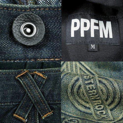 【PPFM】エンボスバティックスキニーデニムパンツ 暗青 size L