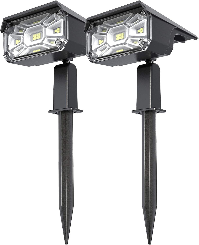 Solar Spot Lights Outdoor, Vercifo 32 LEDs Outdoor Solar Landscape Spotlights Adjustable 2-in-1 IP65 Waterproof Solar Powered Wall Lights for Yard Garden Driveway Porch Walkway Pool Patio 2 Pack
