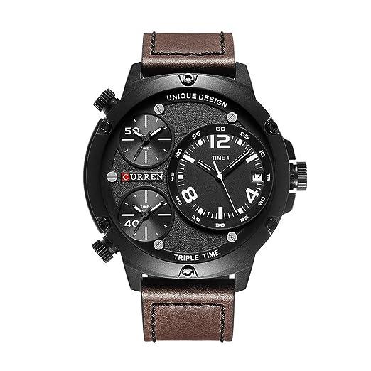 CURREN 8262 reloj de cuarzo para hombre múltiple automático fecha top lujo marca moda casual reloj deportivo marrón: Amazon.es: Relojes