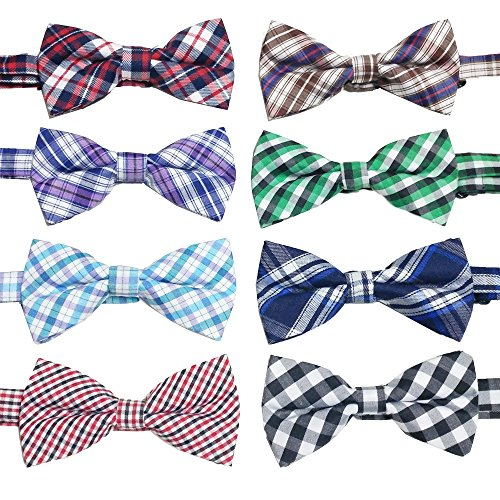 Fancy Dog Bows (PET SHOW Plaid Dog Bow Ties Adjustable Bowties for Small Dogs Puppy Cats Party Pet Collar Neckties Grooming Accessories Pack of 8)