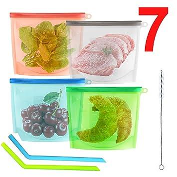 4 Bolsa Silicona Reutilizable Zip Comida Trabajo Fruta Porta ...