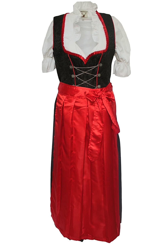 Alpenmärchen 3tlg. Dirndl-Set - Trachtenkleid, Bluse, Schürze, Gr. 34-60, rot - ALM500S