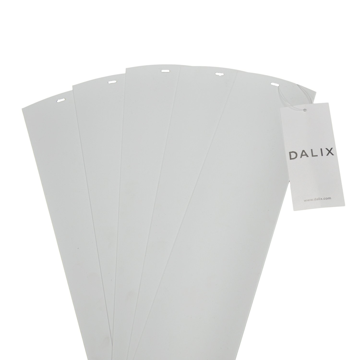 DALIX PVC Vertical Blind Replacement Slats Curved Smooth White 94.5 x 3.5 (5-Pack) by DALIX