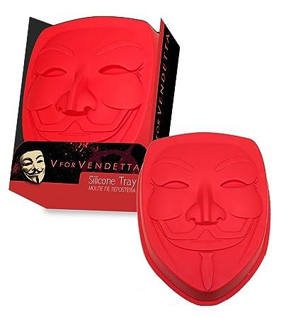 """Molde para pasteles de Silicona """"V de Vendetta"""" Máscara de Guy Fawkes"""