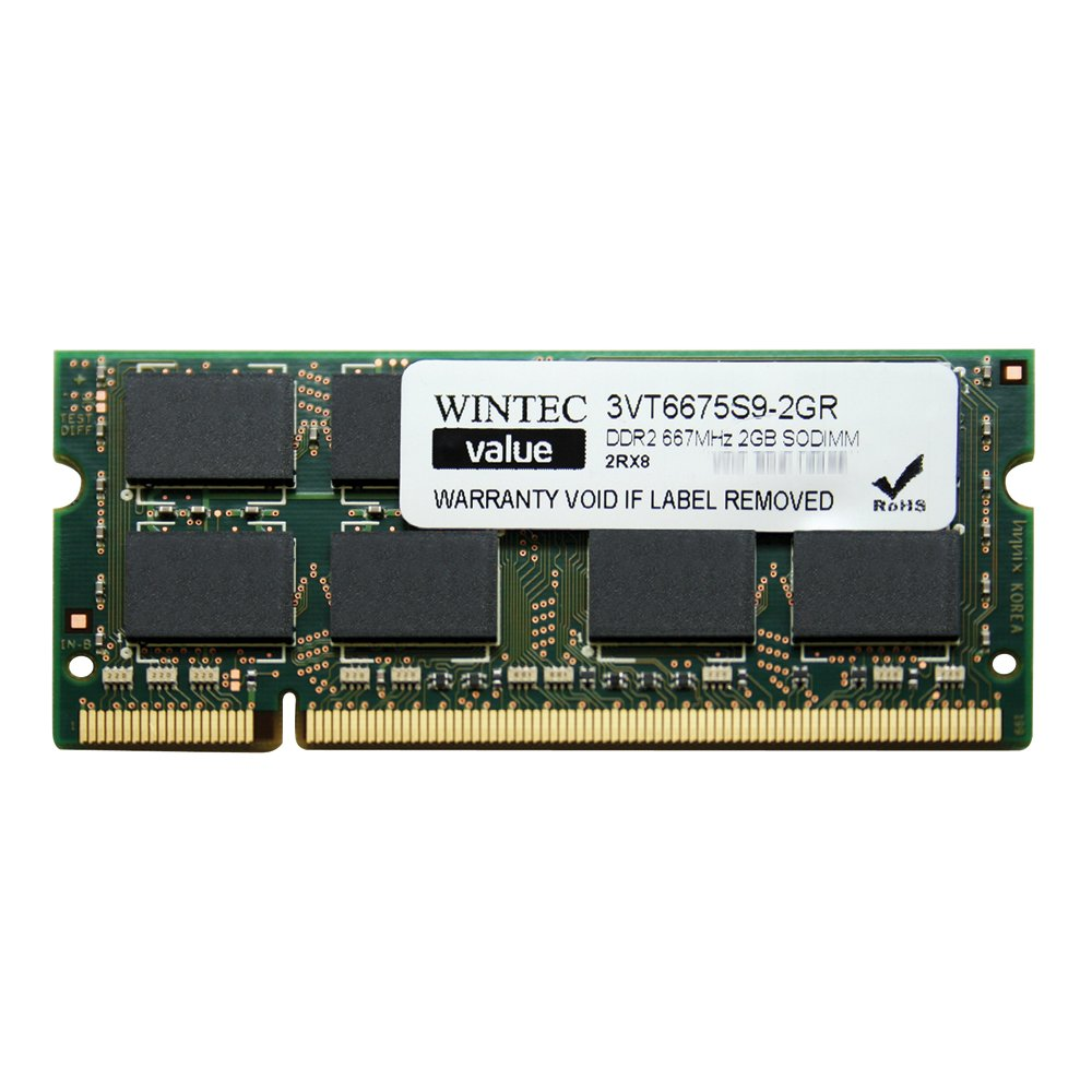 Wintec Value MHz 2GB SODIMM Retail 2Rx8 2 Not a Kit (Single) DDR2 667 (PC2 5300) 200-Pin SO-DIMM 3VT6675S9-2GR