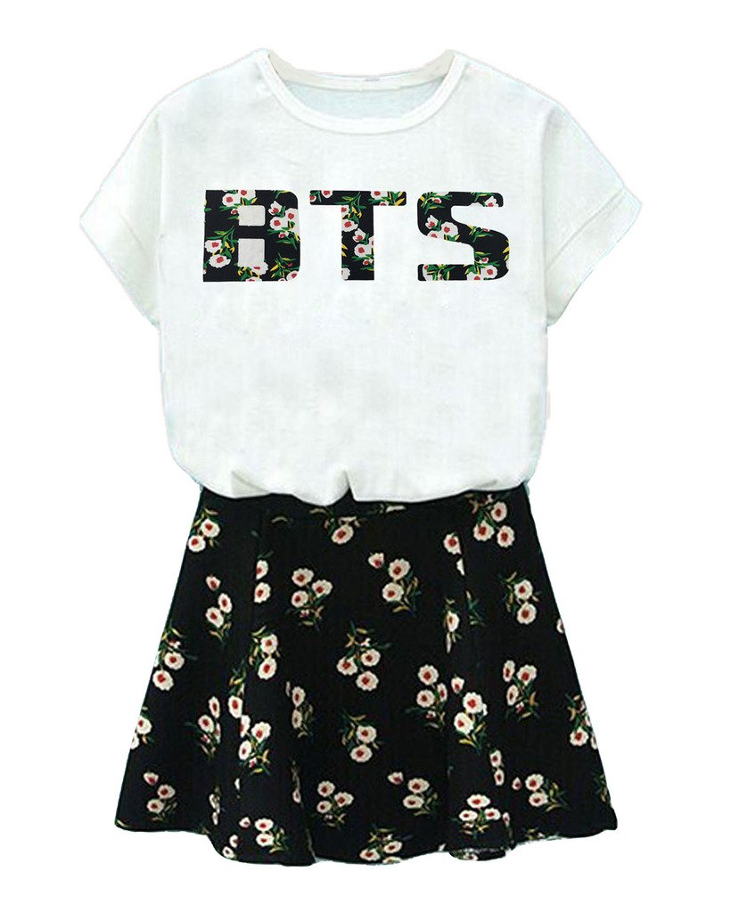 BTS Suga Jin Jimin Jung Kook Printed T-Shirt + Floral Skirt Two Piece Suit babyHealthy