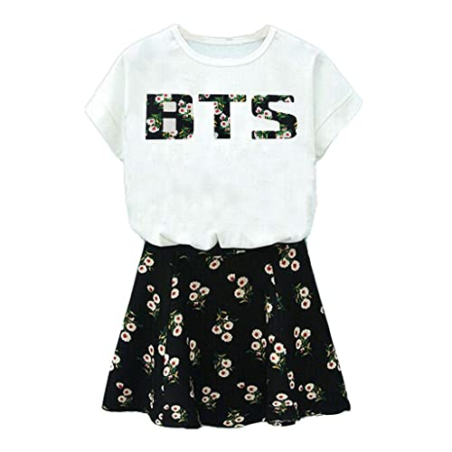 BTS Suga Jin Jimin Jung Kook Printed T-Shirt + Floral Skirt Two Piece Suit