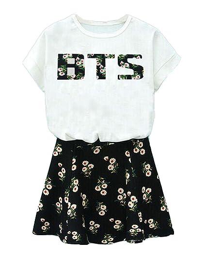 Buy BTS Suga Jin Jimin Jung Kook Printed T-Shirt Floral Skirt 2